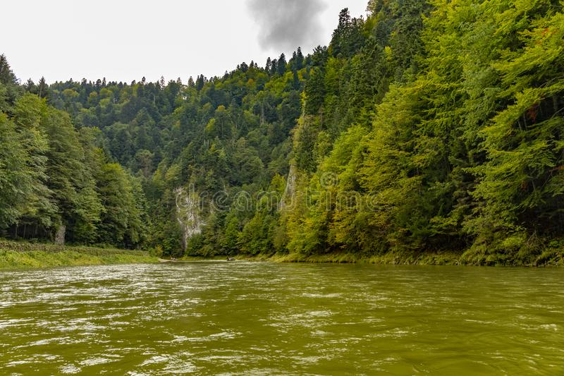 The turn of the river Dunajec. In Pieniny, Poland and Slovakia stock image