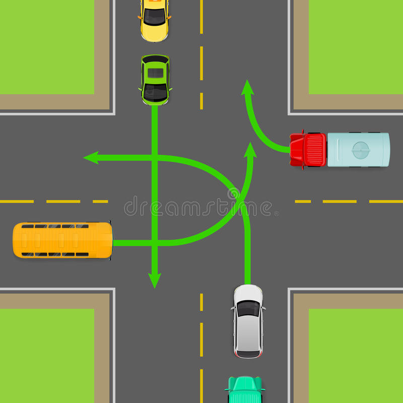 Turn Rules On Four-Way Intersection Vector Diagram Stock Vector ...