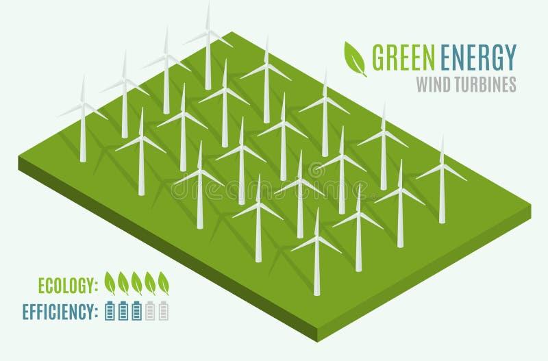 turnbines风 等量平的3d的网 现代供选择的Eco绿色能量 库存例证