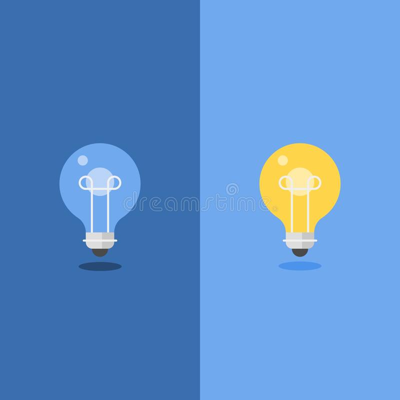 Turned Off and glowing Light Bulb, flat design royalty free illustration