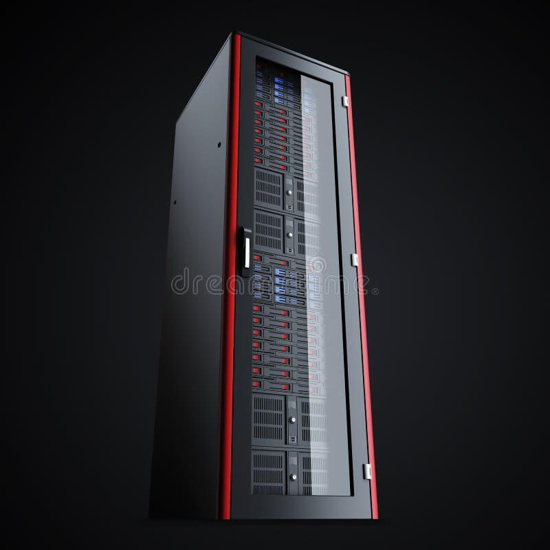 Turned off server rack isolated on black background vector illustration