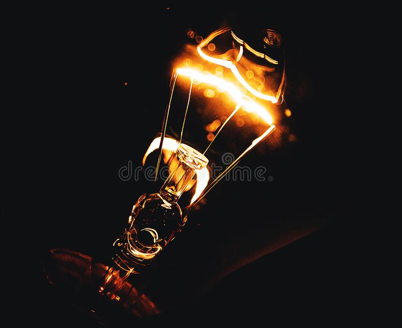 Turned On Table Lamp At Night royalty free stock photos
