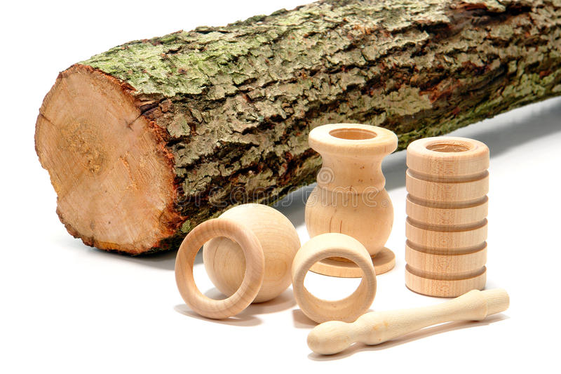 Download Turned Wood Parts And Raw Tree Log Stock Image - Image: 19074945