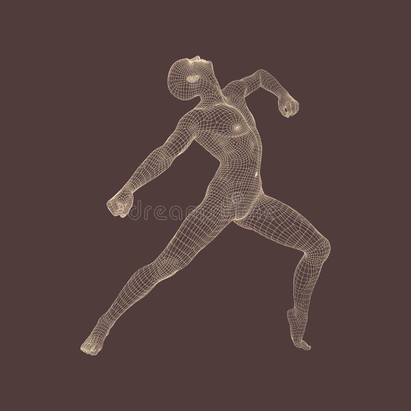 Turner führt ein künstlerisches Element durch Rhythmische Gymnastik, Akrobatik und Aerobic Modell des menschlichen Körper-3D lizenzfreie abbildung