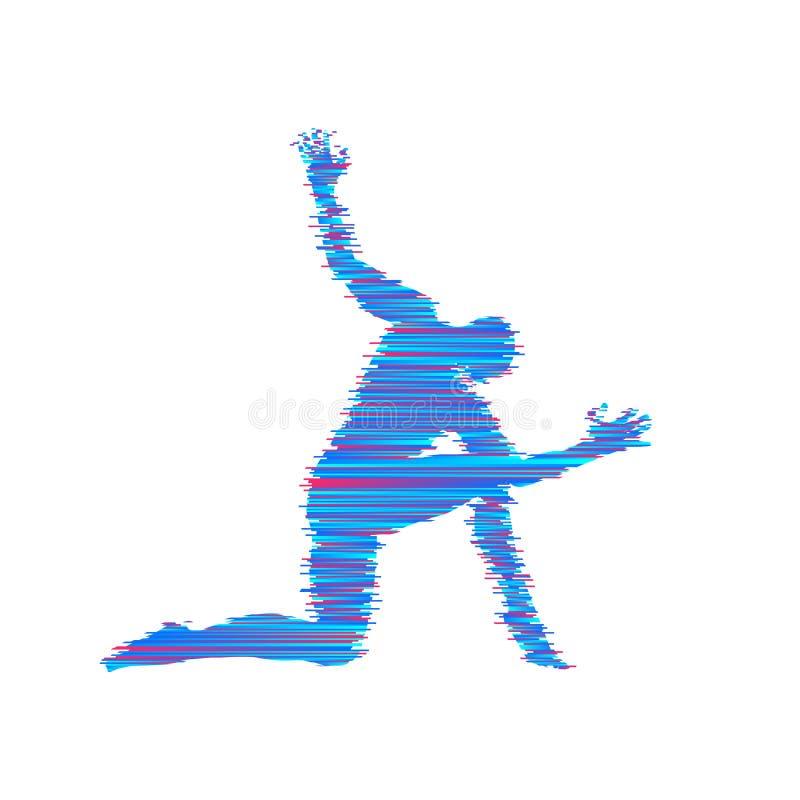 Turner-Mann wirft auf und tanzt Sportsymbol Vektorbild, Abbildung Auch im corel abgehobenen Betrag stock abbildung