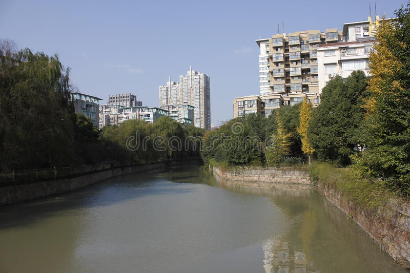 The turner of a river reflecting the house in Jiaxing City stock photography