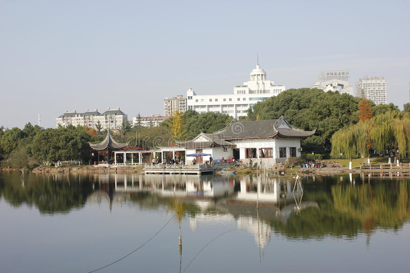 The turner of a river reflecting the house in Jiaxing City royalty free stock images