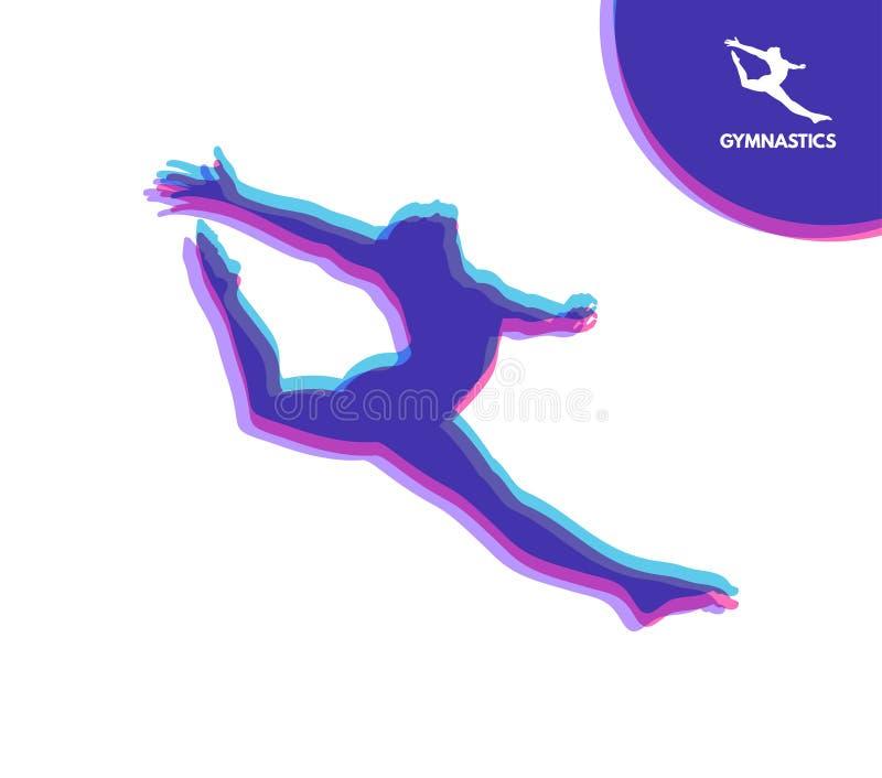 Turner-Schattenbild eines T?nzers Gymnastik-T?tigkeiten f?r Ikonen-Gesundheit und Eignungs-Gemeinschaft Sportsymbol Auch im corel stock abbildung