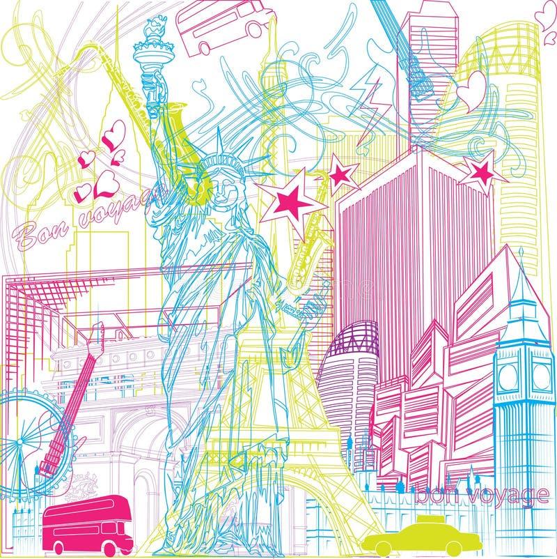 Turnera av staden stock illustrationer