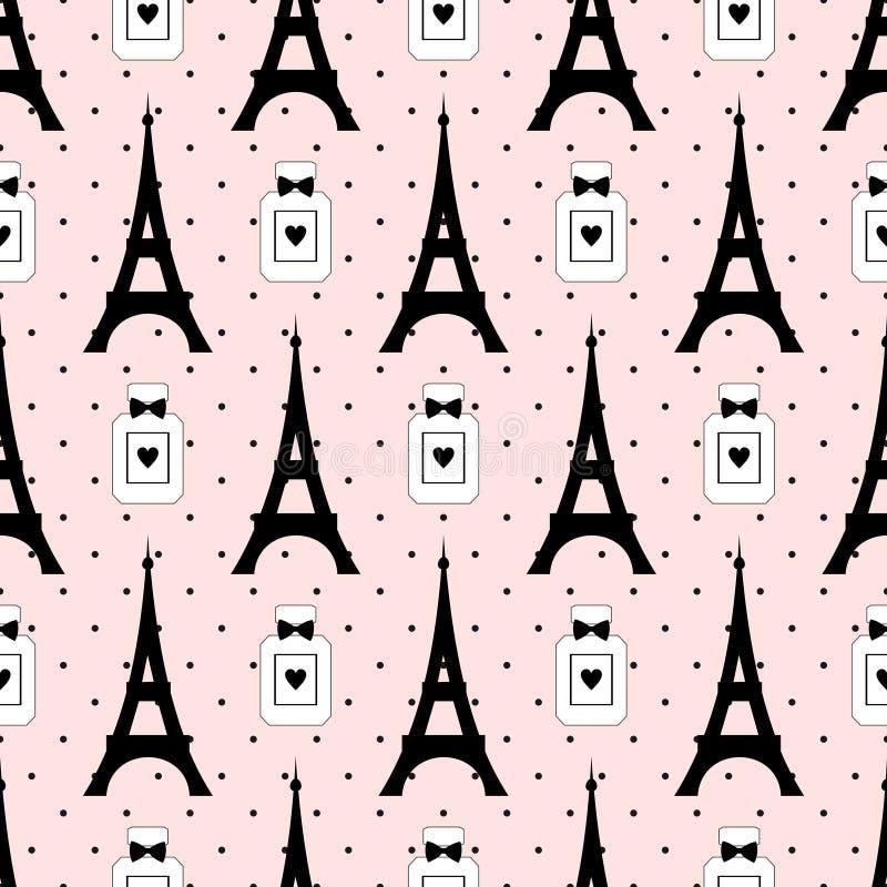 Turnera Eiffel med doftvektorillustrationen på prickbakgrund stock illustrationer
