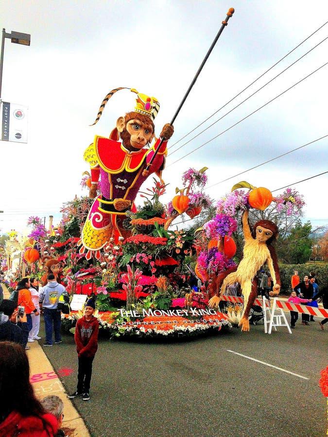 Turnering 2017 av ros` flötet för apakonung` på skärm i detståta området i Pasadena, Kalifornien * Januari 2, 2017 arkivfoton