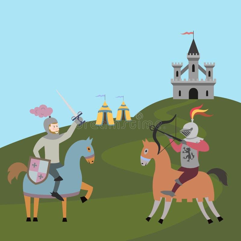 Turnering av två riddare på hästryggar royaltyfri illustrationer