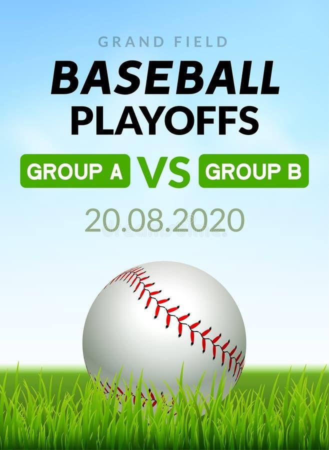 Turnering för lek för design för baseballreklambladaffisch Illustration för inbjudan för sport för vektorbaseballbaner royaltyfri illustrationer