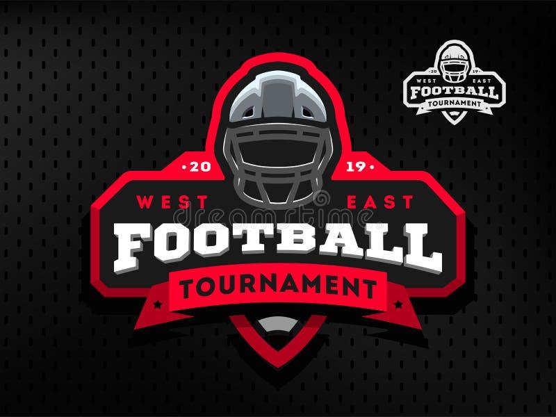 Turneringemblem för amerikansk fotboll, logo på en mörk bakgrund stock illustrationer