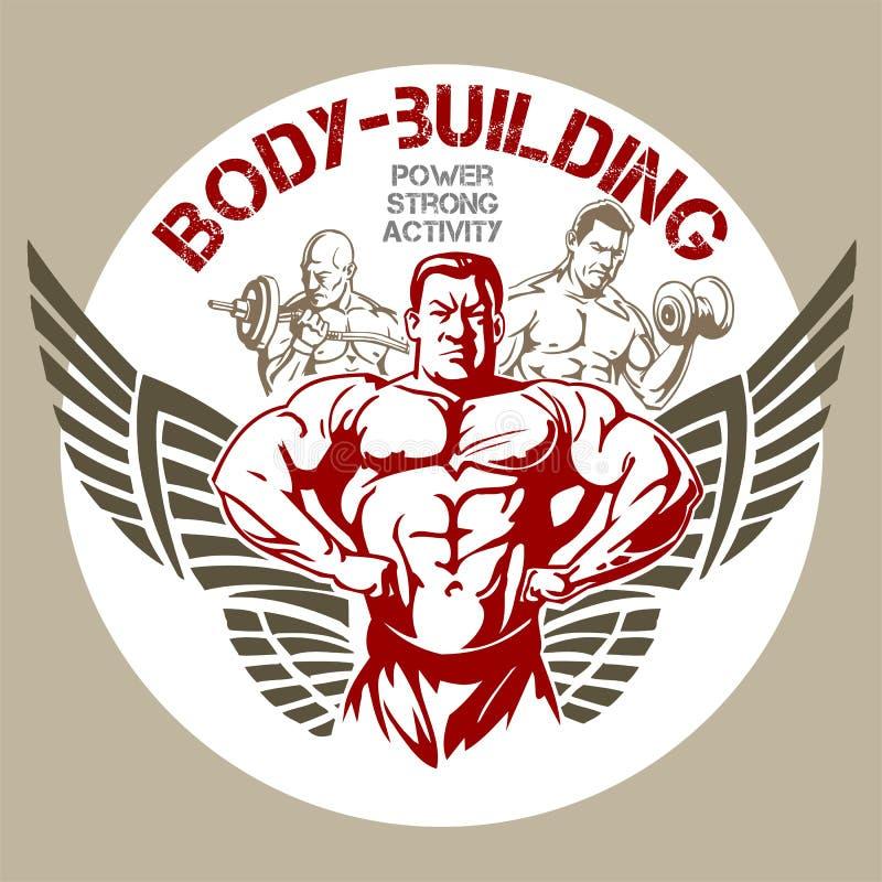 TURNHALLE Bodybuilding - Vektoremblem stock abbildung