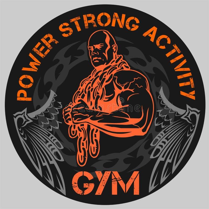TURNHALLE Bodybuilding - Vektoremblem lizenzfreie abbildung