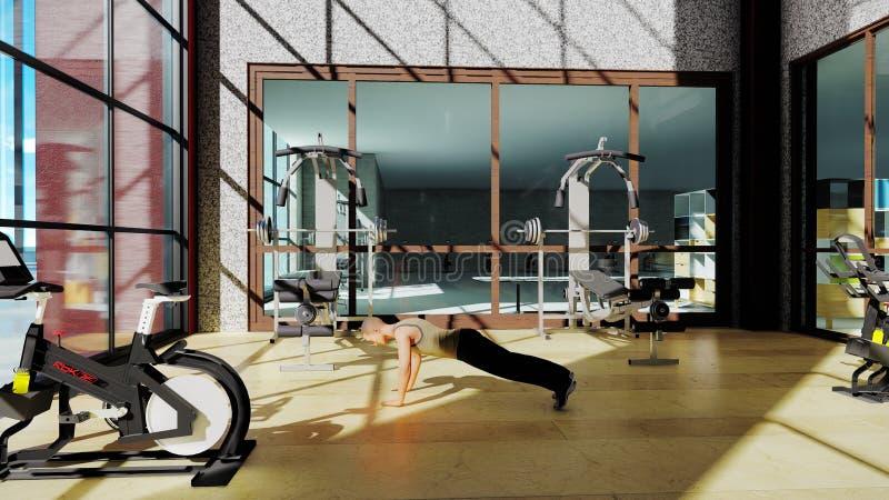 Turnhalle mit einer Vielzahl der Übungsausrüstung und des Sportlers, der Sport tut Wiedergabe 3d stock abbildung