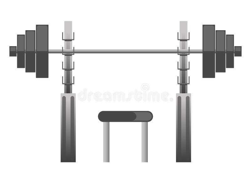 Turnhalle oder Eignungssportverein-Kastenpressemaschinenausrüstungsvektorikone lizenzfreie abbildung