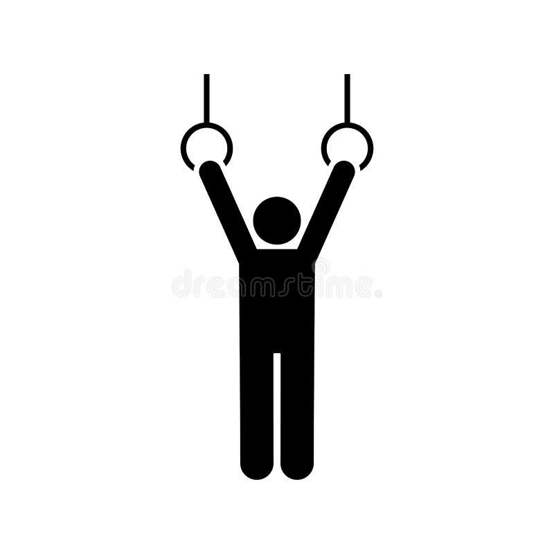 Turnhalle, Schwingen, Übung, Mann, Eignungsikone Element des Turnhallenpiktogramms Erstklassige Qualit?tsgrafikdesignikone Zeiche lizenzfreie abbildung