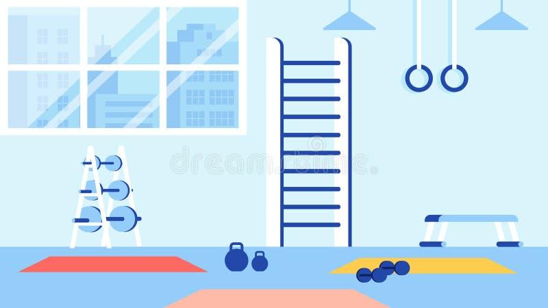 Turnhalle und Sport-Ausrüstung für die Ausbildung des blauen Innenraums stock abbildung