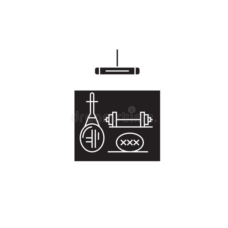 Turnhallengangschwarzvektor-Konzeptikone Flache Illustration des Turnhallengangs, Zeichen stock abbildung