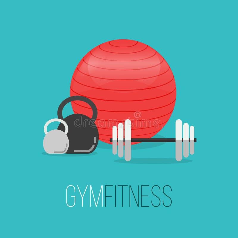 Turnhallentraining, Bodybuilding, gesunde Fahnen lizenzfreie abbildung