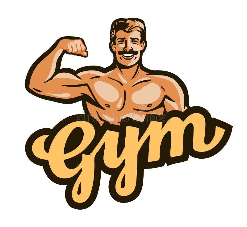 Turnhallenvektorlogo Sport, Eignung, bodybuildende Ikone vektor abbildung