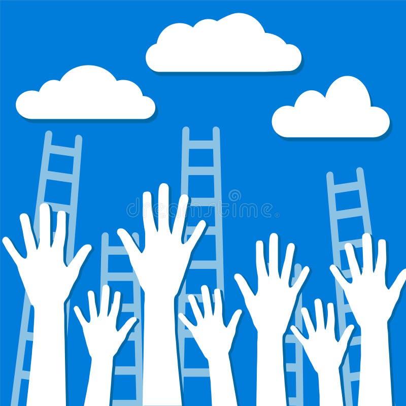 Turniejowy pojęcie, biel chmurnieje na niebieskim niebie z drabinami i h royalty ilustracja