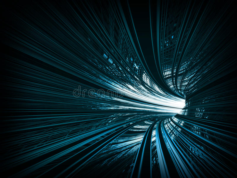 Turning blue abstract tunnel. Abstract background: fast motion in turning blue tunnel with the light at the end vector illustration