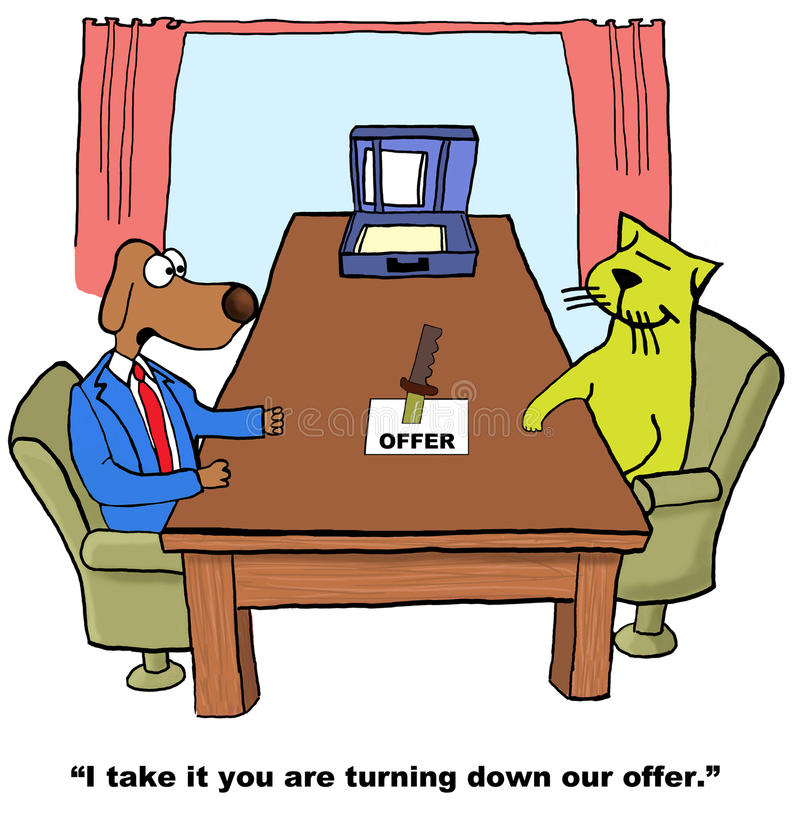 Turning Down Offer. Business cartoon showing business dog saying to business cat, 'I take it you are turning down our offer vector illustration
