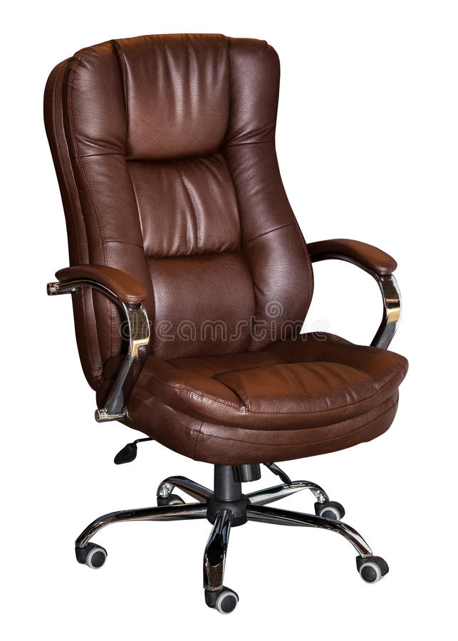 Turning leather brown office chair isolated. On white background royalty free stock images