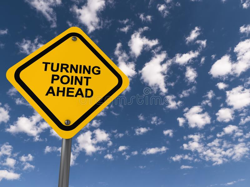 Turning point ahead traffic sign. Turning point ahead ahead traffic sign on blue sky stock photos