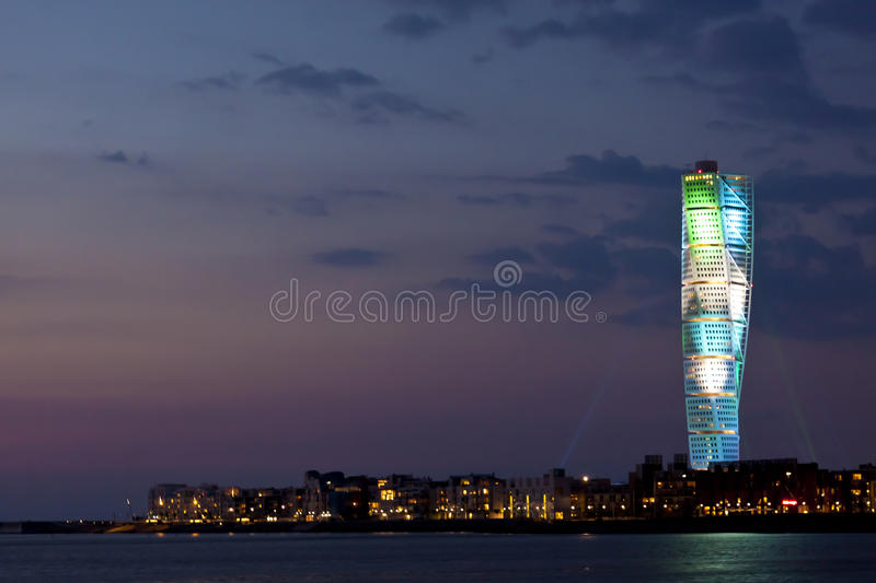 Turning Torso in color. When Eurovision Song Contest was going in Malmo May 2013, this buildning by Santiago Calatrava had an own light to celebrate the occasion royalty free stock photography