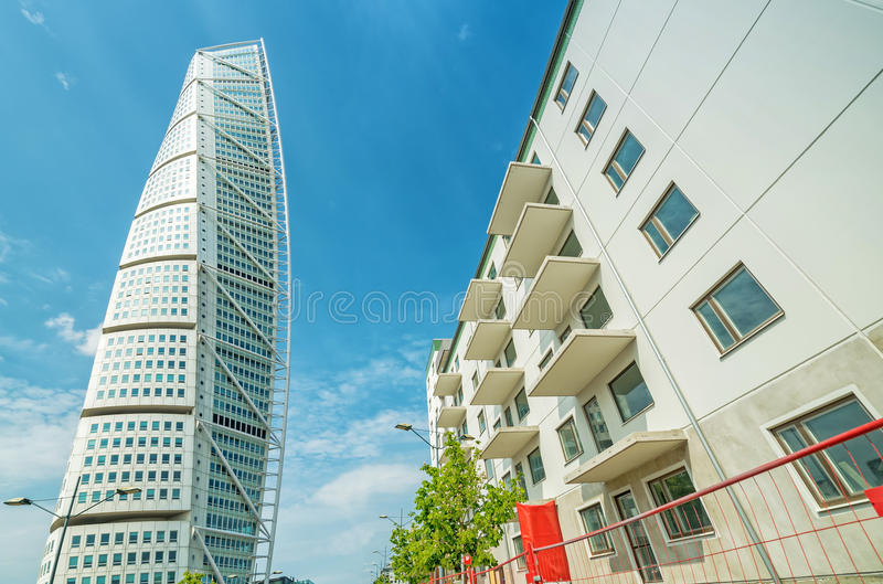 Turning Torso facade - view with new side building royalty free stock photo