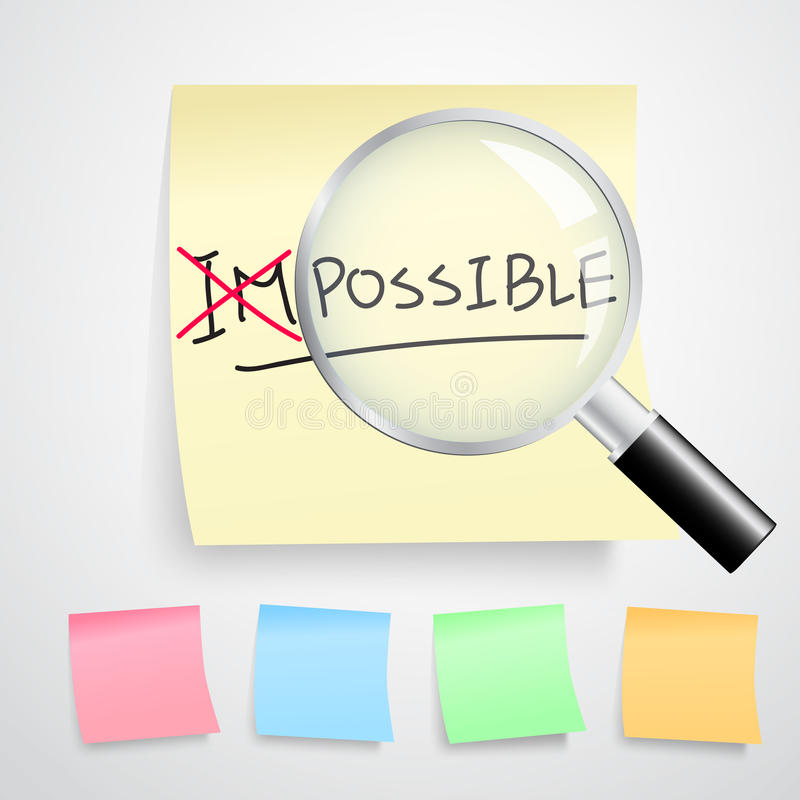 Turning the word Impossible into Possible stock illustration
