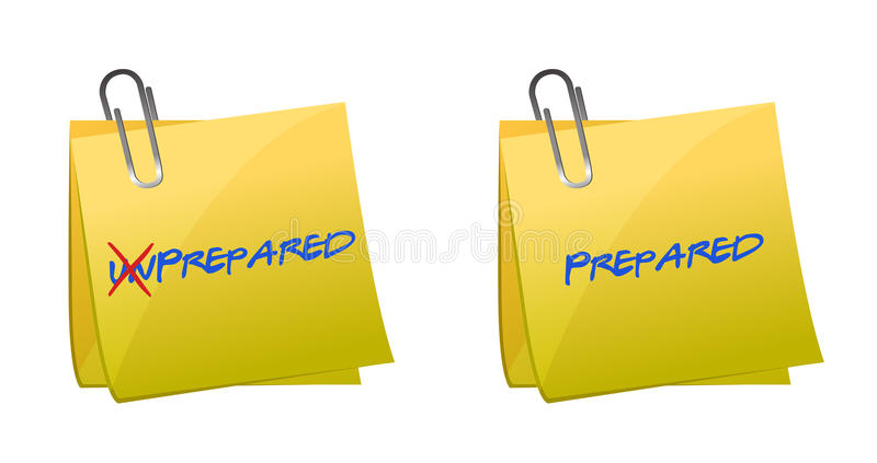 Turning the word Unprepared into Prepared vector illustration