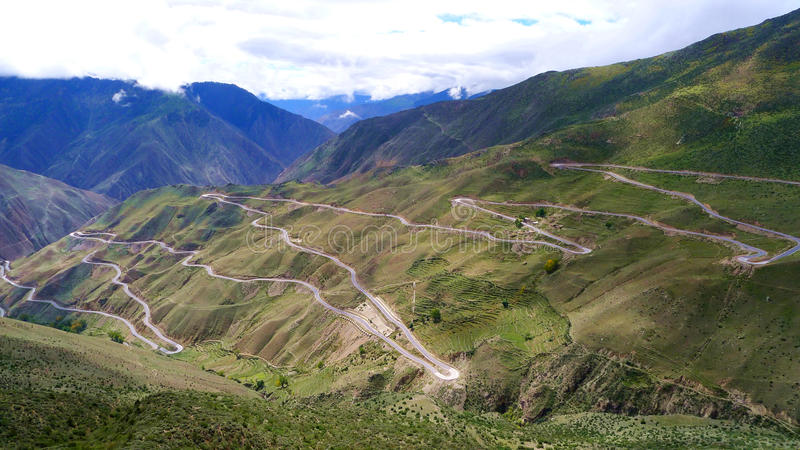 72 Turnings Of Road 318, The Way To Lhasa, Tibet Royalty Free Stock Photos