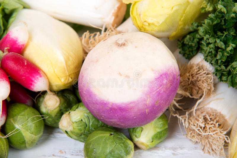 Turnip. With different vegetables around royalty free stock photo