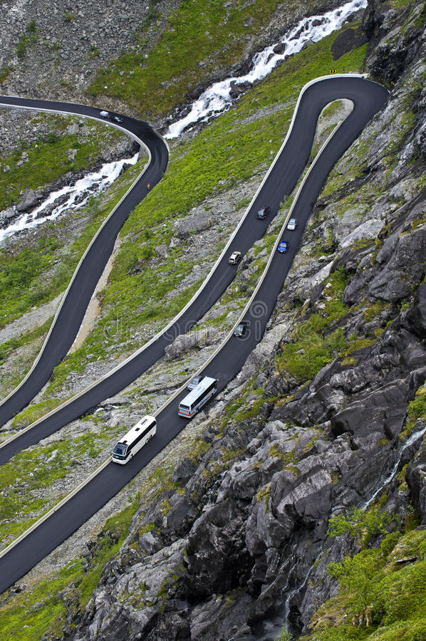 Turns of a mountain road stock images