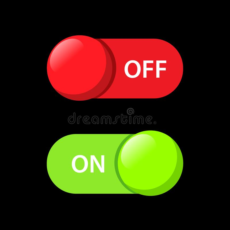 Turns on-off button vector design for web application. Turns on-off button vector design for icons web application technology stock illustration