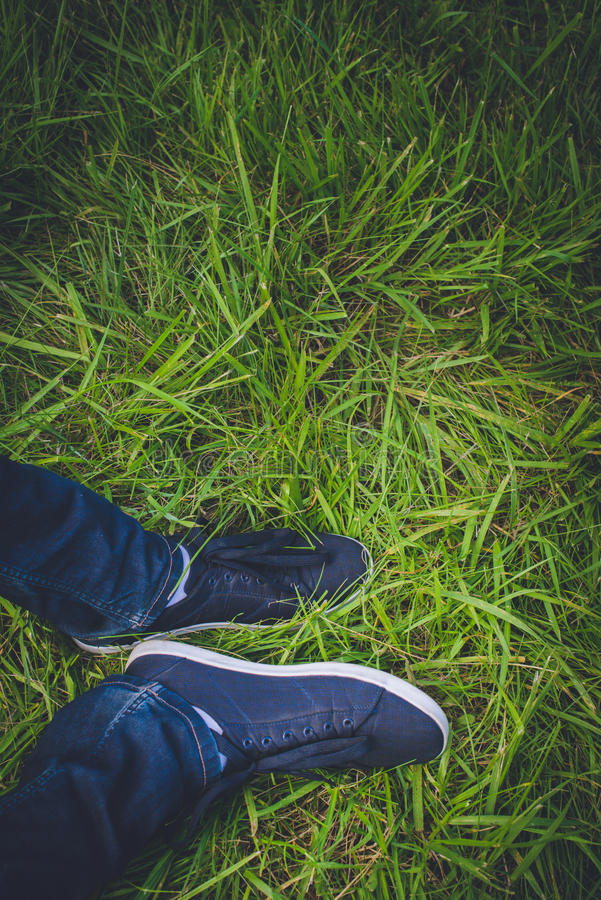 Turnschuhe auf Gras stockfotos