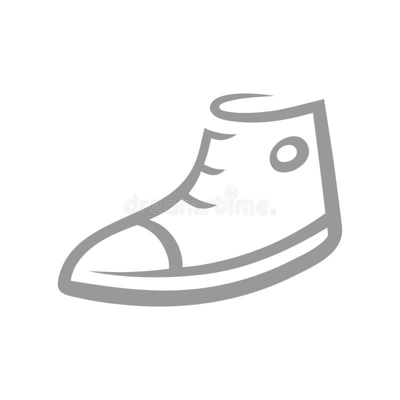 Turnschuhsymbol, Ikone auf Weiß lizenzfreie abbildung