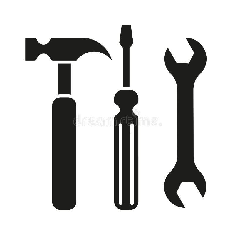 Turnscrew молотка оборудует значок иллюстрация вектора