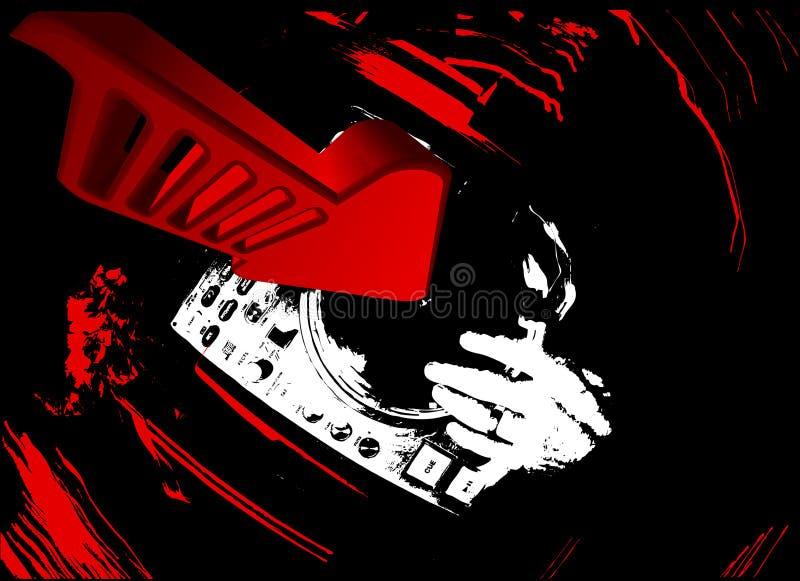 turntable красного цвета dj стрелки 3d иллюстрация штока