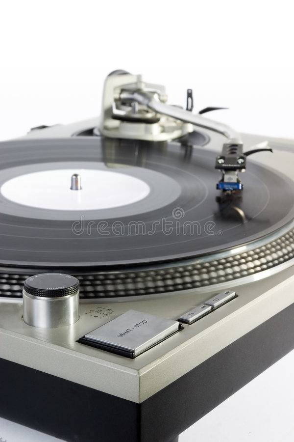 Turntable. Dj's vinyl player isolated on white background stock images