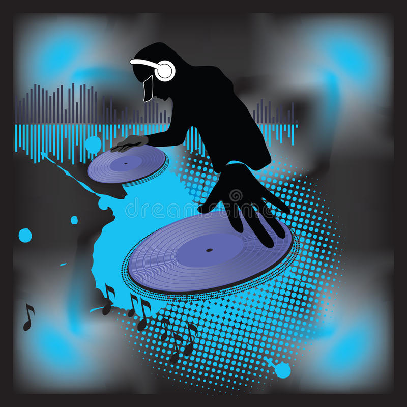 turntable för dj-musikaffisch royaltyfri illustrationer