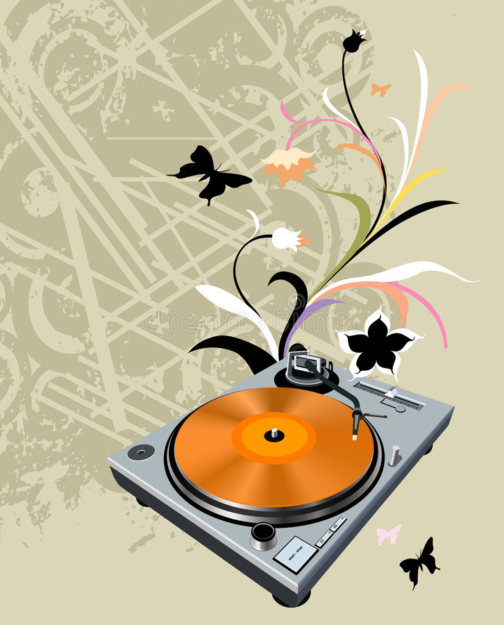 Turntable and flowers vector illustration