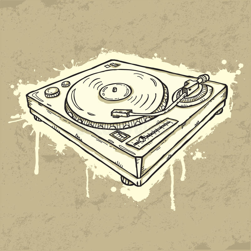 turntable grunge иллюстрация штока