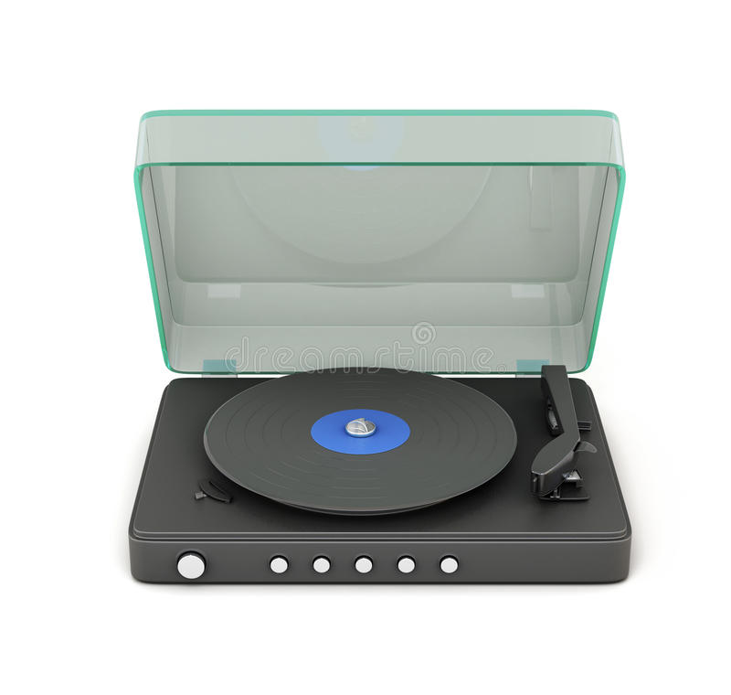 Turntable with the lid open. Isolated on white background. 3d stock illustration