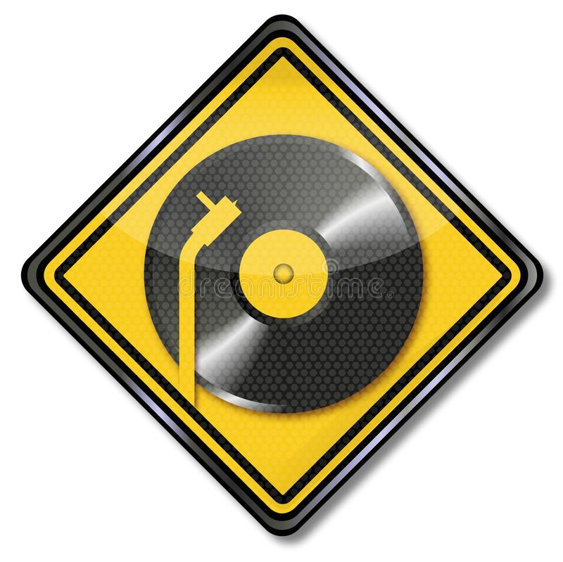 Turntable and music disk. Turntable, music disk and dj vector illustration